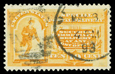 Scott E3 1893 10c Orange Special Delivery Issue Used VF Duplex Cancel Cat $50