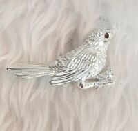 Vtg Signed Sarah Coventry Cov Silvertone Feathers Bird BROOCH Pin Jewellery CAN