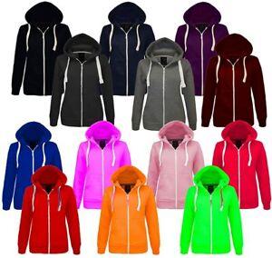 Children's Boys Girls Kids Hoodie Plain Zipped Hooded Sweatshirt Age 1-13