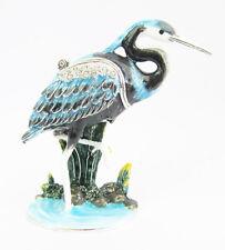 Eastern Reef Heron Black - Striking Jewelled Box Or Figurine