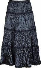 Women  Satin Crinkle Skirt With Velvet Ribbon And Lace Trim 35 Inch long