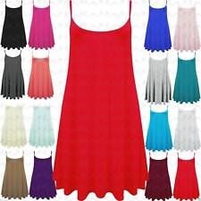 Ladies Plain Long Camisole Strappy Swing Dress Vest Skater Flared Sleeveless