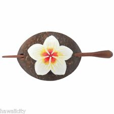 Hawaiian Plumeria Flower Coconut Wood Hawaii Barrette - FREE SHIPPING