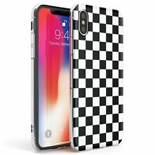 Black Checkered Slim Flexible Phone Case for iPhone | Checkerboard Plaid Checked