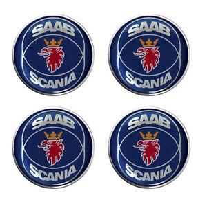 Saab Scania Blue Self Adhesive Set of 4 Gel Wheel Centres Choice of Sizes