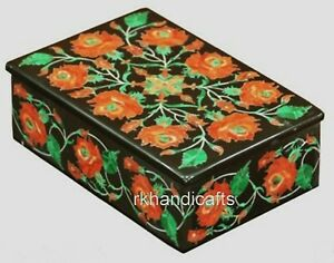 6 x 4 Inches Marble Watch Box Inlay Trinket Box with Multi Stone Work Royal Gift