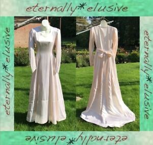 1920s 30s Genuine Antique Vintage Long Oyster Pink Wedding Gown Dress Size 8 10