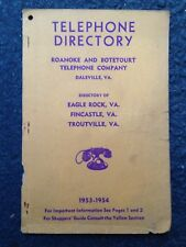 1954 EAGLE ROCK, VA, FINCASTLE TROUTVILLE TELEPHONE DIRECTORY, PHONE BOOK