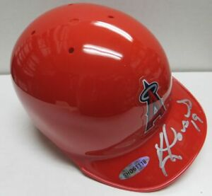 Kendrys Morales Hand Signed Autographed Mini Helmet Angels Silver Ink UDA Kendry