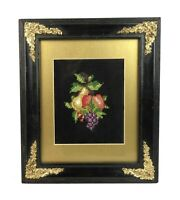 Antique Victorian Style Embroidery Crewel Fruit Bunch Ornate Frame