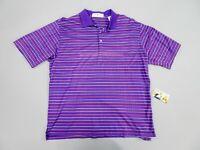 "Fairway & Greene Purple Stripe Cotton Polo Style Collared Golf Shirt, Size L 44"""