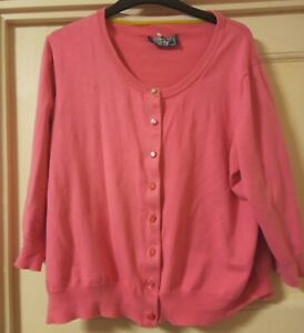 Joules Candy Pink Cotton Cardigan Size 18