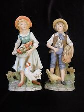 #8881 Young Farm Couple Porcelain Figurines Homco Home Interior