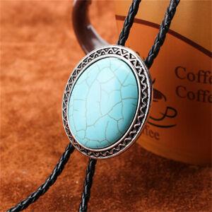 Stone Turquoise Tiger-eye Mens BOLO Tie Wedding Necklace Vintage Western Cowboy