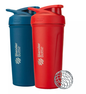 2-Pack Blender Bottle STRADA Insulated Stainless Steel 24 oz Bottles, Blue + Red