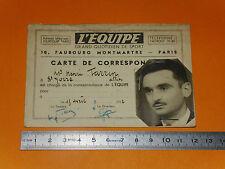 RARE CARTE CORRESPONDANT JOURNAL L'EQUIPE 1952 FOOTBALL RUGBY CYCLISME SPORTS
