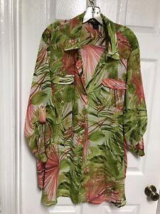 Sunny Taylor 2X Blouse Tunic XLength Tropical Print Sheer Green Coral