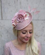 Blush Nude Pink Feather Flower Floral Disc Saucer Hat Fascinator Dusky Hair 6405
