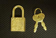 (5) Small Metal Padlock Mini BRASS Tiny Box Luggage/Suitcase Craft Lock Key 20mm