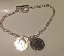 Holly Willoughby style sterling silver bracelet double coin charm