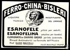 PUBBLICITA' 1926 FERRO CHINA BISLERI ESANOFELE CHININO MALARIA GUIDO BACELLI