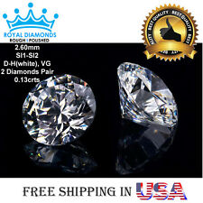 2 Round Brilliant cut Diamonds Pair Loose Natural Real Size-2.60mm SI D-H VG