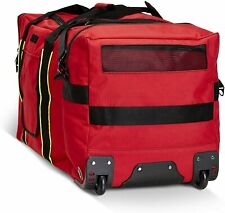 LINE2design Wheeled Firefighter Jumbo turnout Gear Bag with Maltese Logo - Red