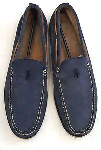 POLO RALPH LAUREN Men 11.5-D Blue Suede Leather Slip On Driving Moc Loafer Shoe