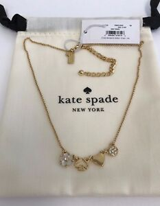 NWT Kate Spade Mini Things Row Necklace OORU2022 - Cream / Clear/ Gold