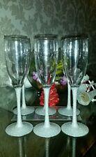 set of 6 stem glitter champagne glasses