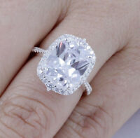 5ct Cushion Cut Sterling Silver CZ Engagement Ring Wedding Band Size 3-14 SE78A