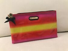 Victoria's Secret beauty make up cosmetic bag orange red Rainbow stripe