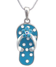 Sandal Flower Necklace Girl Jewelry n2007b Polka Dot Sky Blue Flip Flop Beach