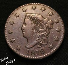 1818 Coronet Head Large Cent <> N-1 R1 Closest Date/Stars Away <> Fine +