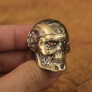 LINSION Handmade Brass Red CZ Eyes Terminator Mens Biker Robot Ring BR80B