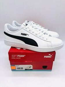 Puma Men's Smash V2 Leather Tennis Lace Up Shoes - White