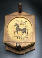 Vintage The Black Horse Inn 1794 Coaster Set, Hand Carved Hardwood, Set Of 6