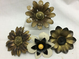 4 Vtg Metal Flower Floral Tacks Curtain Tie Backs DIY Project Hardware Mixed Lot