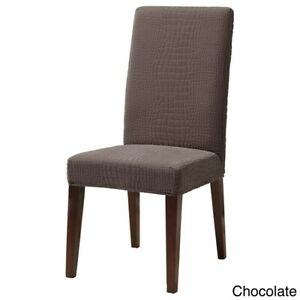 Sure Fit Stretch crocodile Jacquard Short Dining Room Chair chocolate
