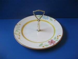 "Stangl WILDWOOD Tidbit Plate Handled 1957 Flowers 24K Detail Kay Hackett 10"" Vtg"