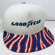 Vintage Goodyear Snapback Trucker Hat Cap Swingster Red White And Blue USA