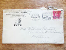 1932 Lyon Cover Company Detroit Michigan Postal Cover Posted Stamped Envelope MI