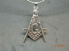 MIP- Free Masons Masonic emblem Pendant with black accents w/30 inch ball chain
