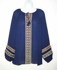 Chico's 3 XL Boho Blouse Tunic Top Navy Embroidered Bishop Sleeves