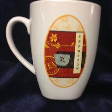 SAKURA TEA HOUSE INFUSION 12 OUNCE MUG WHITE WITH OVAL JAPANESE IMAGE