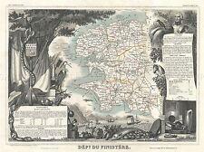 Carte de géographie illustrée antique LEVASSEUR Finistère Poster Art Print bb4374a