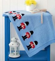 Easy Baby Blanket Toy Soldier Motif (Swiss Darning) - DK Knitting Pattern