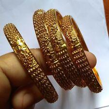 All Time Wear Bangle Bracelet 2.4'' f Antique Gold Plated Indian 4 Pcs Designer