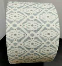 NEW HANDMADE LAMPSHADE - French Petite Ikat Linen in Blue, Grey & Oatmeal