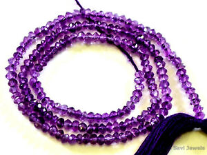 """A++ AMETHYST 2.5-3mm Micro Faceted Rondelle Gemstone Beads 13.5"""" str"""